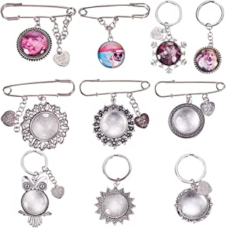 SUNNYCLUE 1 Set DIY 5PCS Wedding Boutonniere Bouquet Charm Pin Brooch Cabochon Photo Charms & Cabochon Keychain Keyring Making Kit