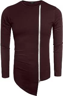 Men's Hipster Hip Hop Shirt Casual Zipper Shirt Irregular Short Sleeve T Shirt