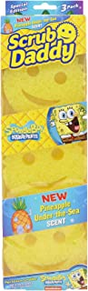 Scrub Daddy, Pineapple Scented SpongeBob Scrubber - FlexTexture, Soft in Warm Water, Firm in Cold, Deep Cleaning, Dishwasher Safe, Multiuse, Scratch Free, Odor Resistant, Functional, Ergonomic, 3ct