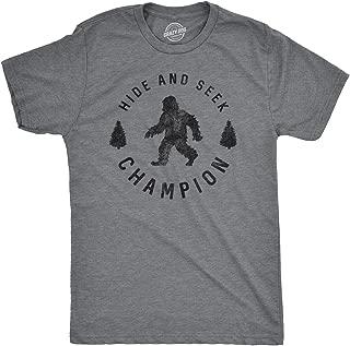 Mens Hide and Seek Champion Tshirt Funny Bigfoot Tee for Guys