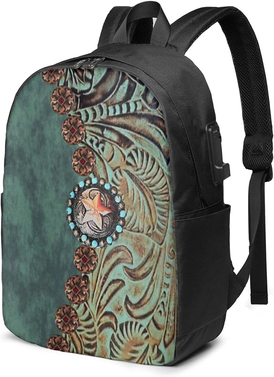 Tooled Leather Country Western Cheap SALE Start Travel Laptop Wate Backpack unisex Purse