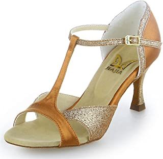 JIA JIA 2055 Sandales pour Femmes 2.7 '' Talon évasé Super Satin Latin Chaussures de Danse