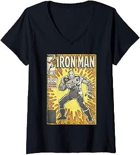 Womens Marvel Avengers Iron Man Return Of The Original Comic Cover V-Neck T-Shirt