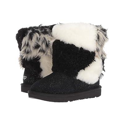 UGG Kids Classic Short Patchwork Fluff (Little Kid/Big Kid) (Black) Girls Shoes