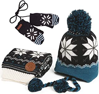 Kid's Knitted Winter Hat Scarf and Mittens Set with Snowflake Pattern All in One