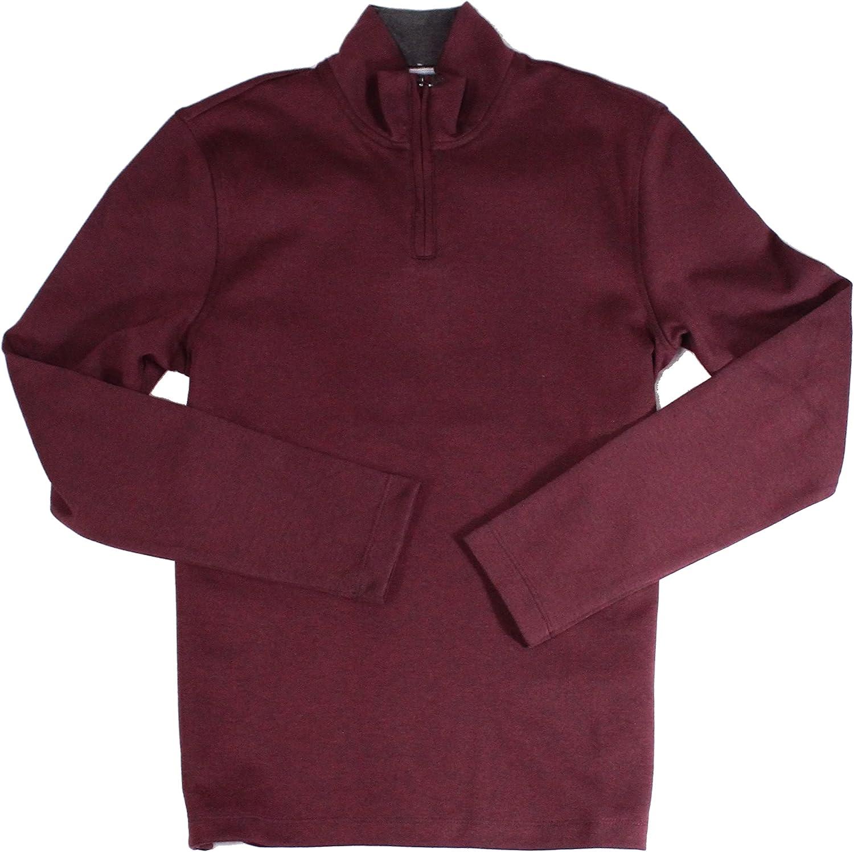 Alfani Mens Sweater Port Large Mock-Neck Solid Pullover Red L