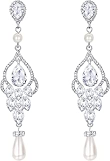 EVER FAITH Women's Crystal Simulated Pearl Bridal Vintage Chandelier Teardrop Earrings Clear Silver-Tone