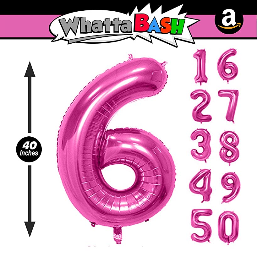 40 Inch Pink Jumbo Number 6 Six Balloon - Giant Large Balloons Foil Decorations Supplies for Birthday Party Wedding Bridal Shower Anniversary Engagement Photo Shoot Gift Accessories (Pink, Number 6)