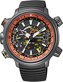 Promaster Land - Altichron - Reloj de Cuarzo para Hombre, con Correa de Goma, Color Negro