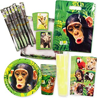 Zoo Animal Party Supplies Animal Planet Value Set (72 Pieces) -- 8 Plates, 8 Cups and 56 Party Favors!