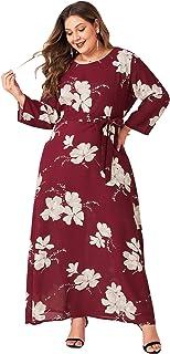 فساتين MAI&FUN مقاس كبير للنساء لفصل الخريف بأكمام طويلة مطبوعة مع حزام ربط