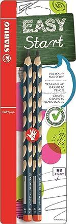 Ergonomischer Dreikant-Bleistift für Rechtshänder - STABILO EASYgraph in petrol - Härtegrad HB - 2er Pack