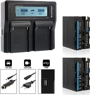 Blumax 2x batería NP-F970 / NP-F960 LG celdas 7850mAh + cargador doble cargador dual | Compatible con Sony NP-F750 NP-F550 NP-F990 para unidades de flash monitores de campo de luces de video