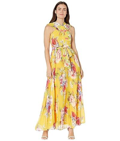 Tahari by ASL Printed Crisscross Neck Chiffon Floral Maxi with Sunburst Pleat Skirt