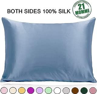 Ravmix 100% Mulberry Silk Pillowcase Hair Skin Hidden Zipper Queen Size 21 Momme 600 Thread Count Hypoallergenic Soft Breathable Both Sides Silk, 20×30inch, 1pcs, Flint Blue