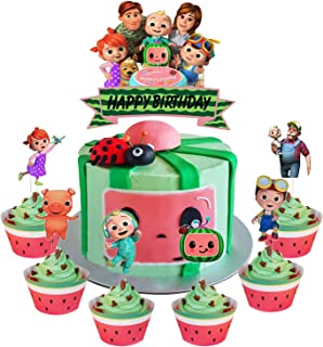 Set of Acrylic Cocomelon Happy Birthday Cake Topper, Cocomelon Cake Topper, Cocomelon Nursery Rhymes Party Decoration Supp...