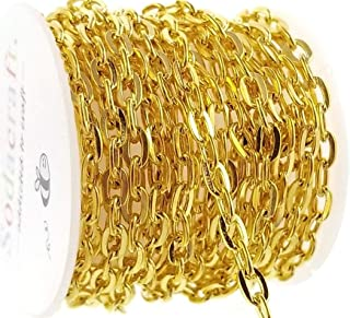 Thick Gold Flat Cable Chain Spool for Jewelry Making, Crafts (4mm x 6mm) 4.25mm