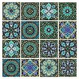 Leyu 16 Pcs 6x6 Inch Mandala Decorative Tile Stickers,Peel and Stick Adhesive Tile Stickers,Home Decor,Furniture Decor,Staircase,Backsplash Tile Stickers