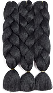 Jumbo Braiding Hair Pure Black 3pcs Synthetic Braiding Fiber Hair Extension for Braids Hair (3pcs, Black)