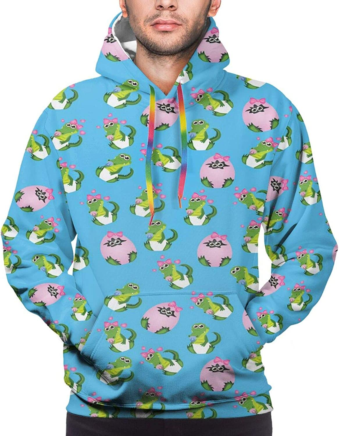 Men's Hoodies Sweatshirts,Lovely Baby Animal Characters with Long Ears and Daisy Blossoms Sweet Kids