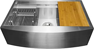 "AKDY Handmade Workstation Ledge 33-inch Farmhouse Apron Mount Kitchen Sink Single Bowl in Stainless Steel 33"" x 20"" x 9"" with Drying Rack & Cutting Board"