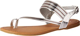 Qupid Women's Flat Sandal with Toe Ring, Silver, 6 M US