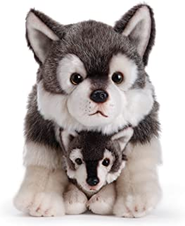 Nat and Jules Mommy Wolf and Pup Wintry Gray Children's Plush Stuffed Animal Toy Set of 2