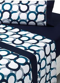 SABANALIA - Juego de sábanas Estampadas Aros (Disponible en Varios tamaños y Colores), Cama 90, Azul