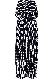 Womens Polka Dot Bandeau Off Shoulder Frill Top Wide Palazzo Leg Jumpsuit 8-22