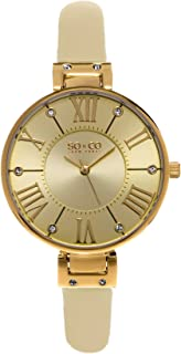 So & Co 5091.1 New York Soho Women's Quartz Watch With Gold Dial Analogue Display and Beige Leather Strap