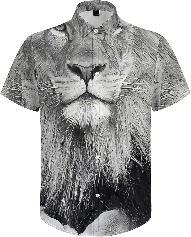 Mens Button Down Shirt Lion Grey Lie Down Casual Summer Beach Shirts Tops