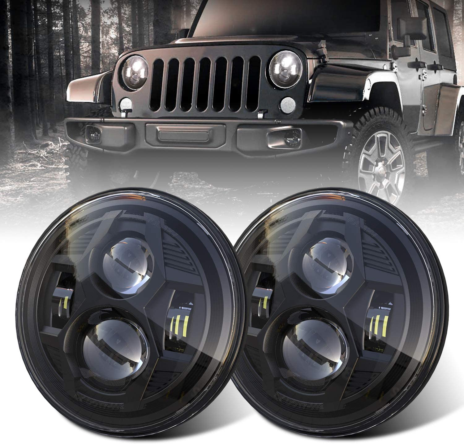DOT 7 Inch Round LED Headlights Compatible Jeep JK Ranking TOP11 New sales Wrangler with