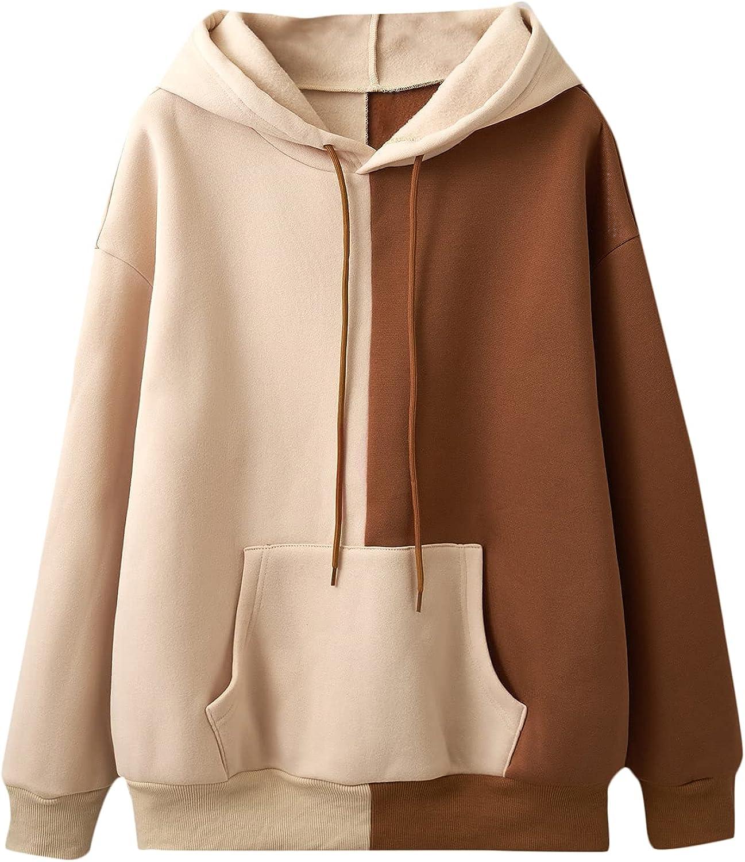 SheIn Women's Colorblock Long Sleeve Drawstring Hoodie Sweatshirt with Kangaroo Pocket