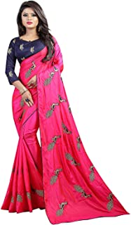Shiroya Brothers Women's Silk Embroidered Saree with Blouse Piece (Peacock_Multicolour) Pink