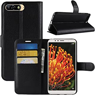 Huawei Y6 2018 Case, Fettion Premium PU Leather Wallet Flip Phone Protective Case Cover with Card Slots and Magnetic Closure for Huawei Y6 2018 Smartphone Black HuaweiY6-2018-Wallet-Black