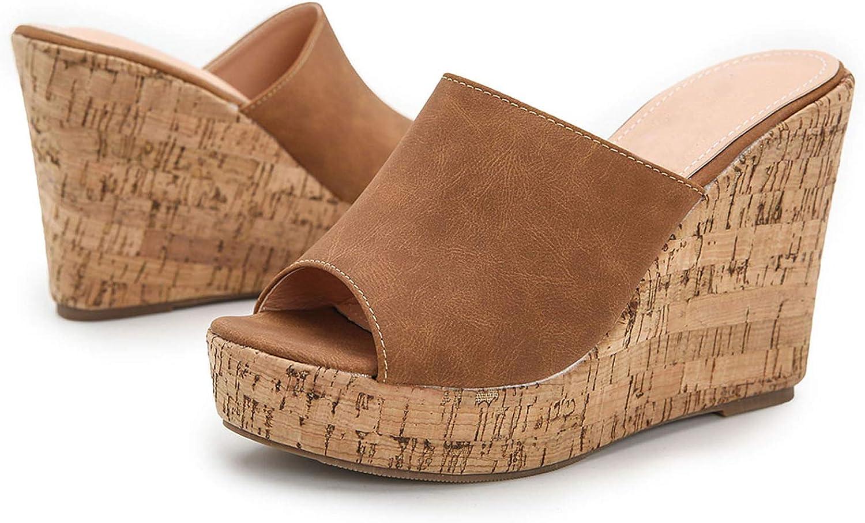 LEHOOR Dedication Cork Wedge Mules for gift Women Peep Sandals Platform Slide To