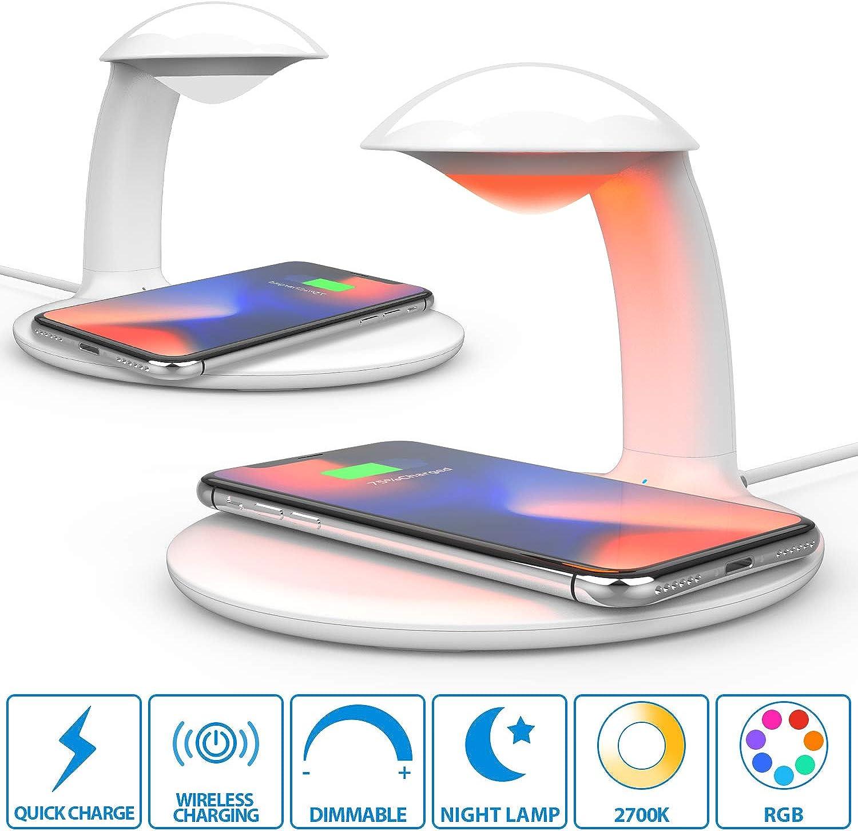 2er Oeegoo led Nachtlicht Stimmungslicht Touch Control dimmbar Nachtlampe mit Fast Wireless Charger, 10W Qi Ladegert für Samsung Galaxy, Kabellose Schnellladestation 7.5W kompatibel mit IPhone
