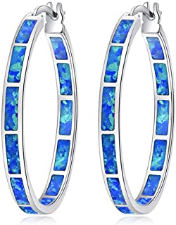CiNily Blue Opal Hoop Earrings for Women,Big Hoop Earrings Opal Jewelry Rhodium Plated Gemstone Earrings 32mm