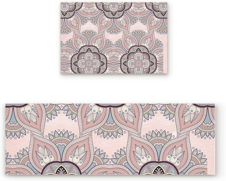 Libaoge Non-Skid Slip Rubber Backing Kitchen Mat Runner Area Rug Doormat Set, Mandala Doormats, Traditional Indian Pattern Carpet Indoor Floor Mats Door 2 Packs, 19.7 x31.5 +19.7 x47.2
