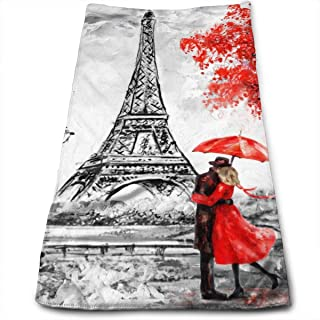 Black White Eiffel Tower Paris Hand Towels Bathroom Soft Lovers and Red Umbrella Bath Towel Absorbent Kitchen Dish Towel H...