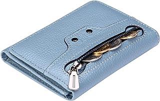 AINIMOER Women's RFID Blocking Small Tri-Fold Leather Zip Pocket Wallet Clutch Organizer Ladies Mini Purse with ID Window