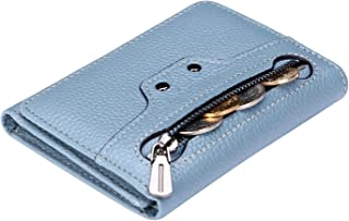 AINIMOER Small Leather Wallet for Women, Slim Compact Credit Card Holder RFID Blocking Wallets Organizer with Coin Pocket, Lichee Gray Blue