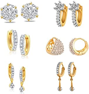 53868d7f1 Jewels Galaxy Exclusive American Diamond Gold Plated Stud Earrings Combos  For Women/Girls