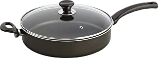 Mehtap 12.5 Inch Saute Pan with Lid and Two Handles, Teflon Classic Nonstick Frying Skillet Cookware Dishwasher Safe Oven Safe for Simmering, Sautéing, and Braising, Black Ost30