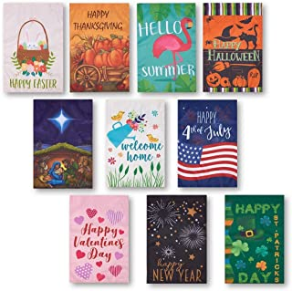 Juvale Garden Flags - 10 Pack Decorative Seasonal Festive Holiday House Flag Banners, Outdoor Lawn Decorations, 10 Assorte...