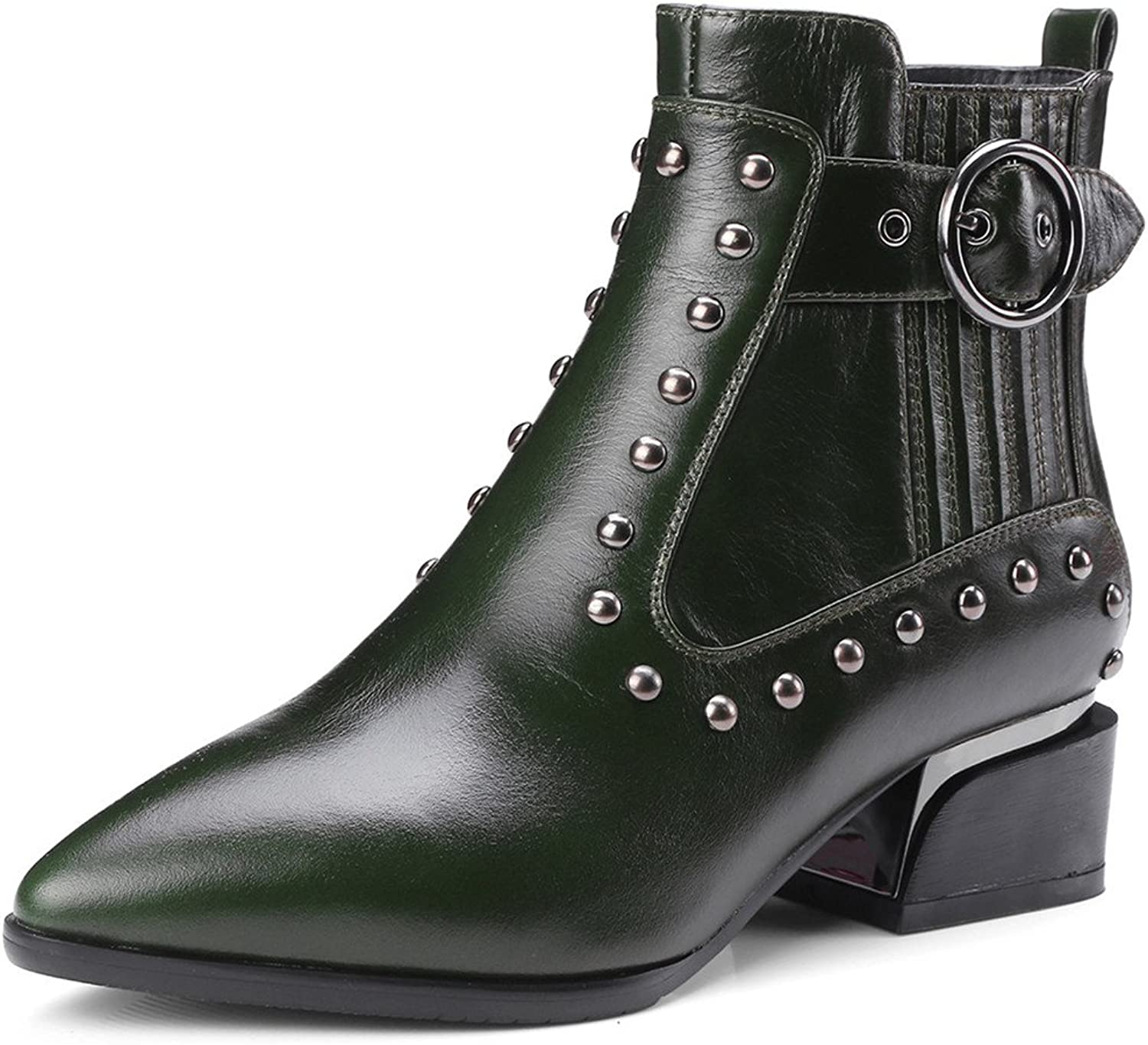 Nine Seven Genuine Leather Women's Pointed Toe Chunky Heel Side Zip Handmade Buckle Studded Ankle Boots