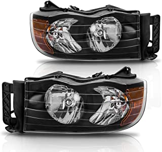 Headlight Assembly for 2002-2005 Dodge Ram 1500/2003-2005 Dodge Ram 2500 3500 Black Housing Amber Reflector (Passenger & Driver side)