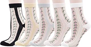 Lovful Ankle Socks for Women, Thin Sheer Mesh Lace Socks, Floral Low Cut Socks (5 Pairs Pack)