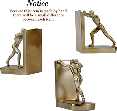Decorative Book Ends for Office Home Shelves, Resin Heavy Duty Bookends, Non-Skid Book Support (Bronze)