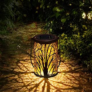 infinitoo Solar Lantern Outdoor, Hanging Lanterns Solar Lights, Garden Lantern Patio Decor, Metal Yard Art Garden Accessor...